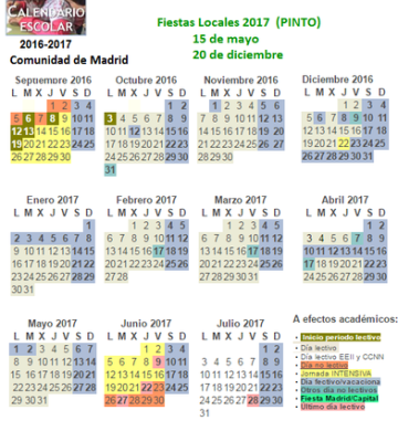 Calendario escolar 2016 2017 informaci n y orientaci n pinto for Calendario eventos madrid